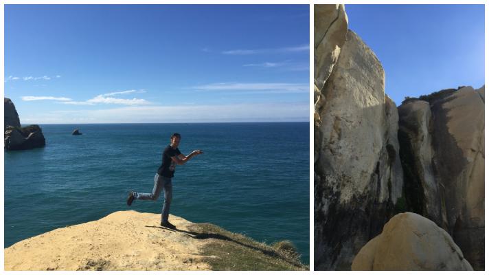 Travel bloggers enjoying tunnel beach