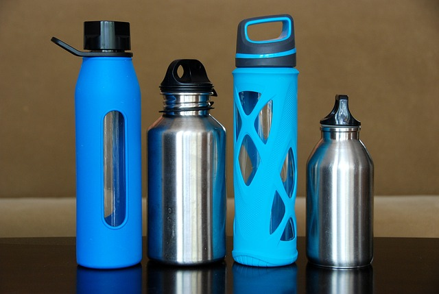 Variety of water bottles for travellers