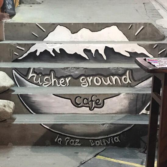 Higher ground cafe in La Paz Bolivia