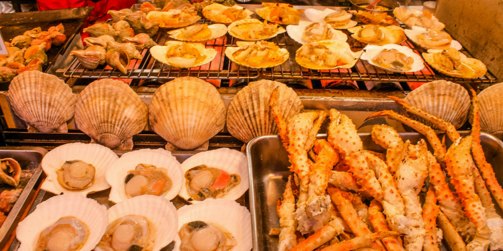 Seafood in Hokkaido Japan