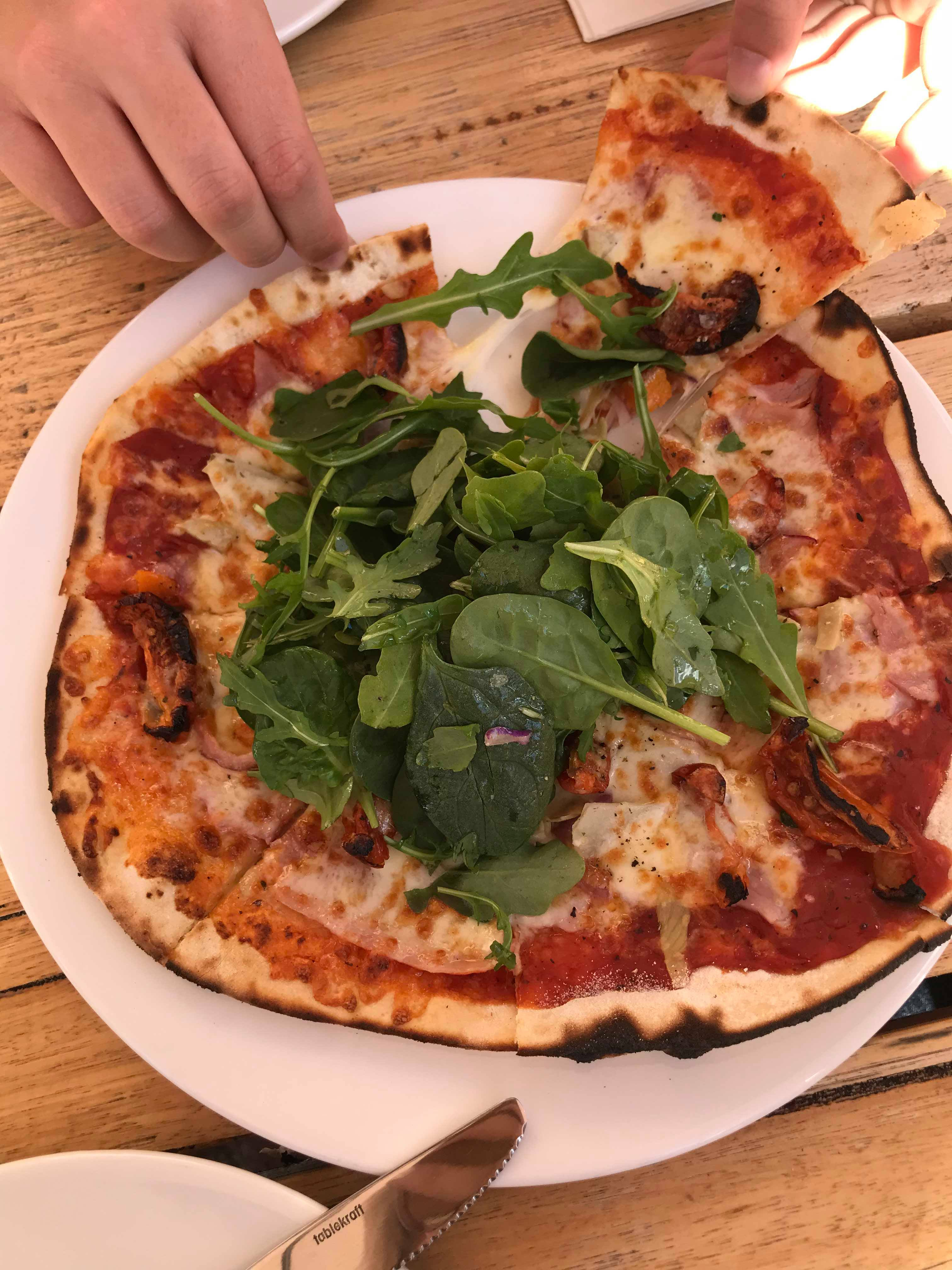 Woodfire pizza fresh from the oven at Daylesford Cider Co