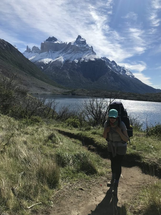 Solo woman hiking in Torres Del Paine
