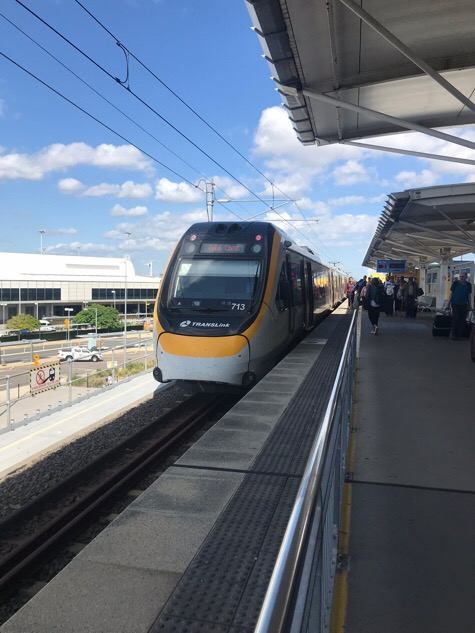 Train arriving at the Brisbane airport