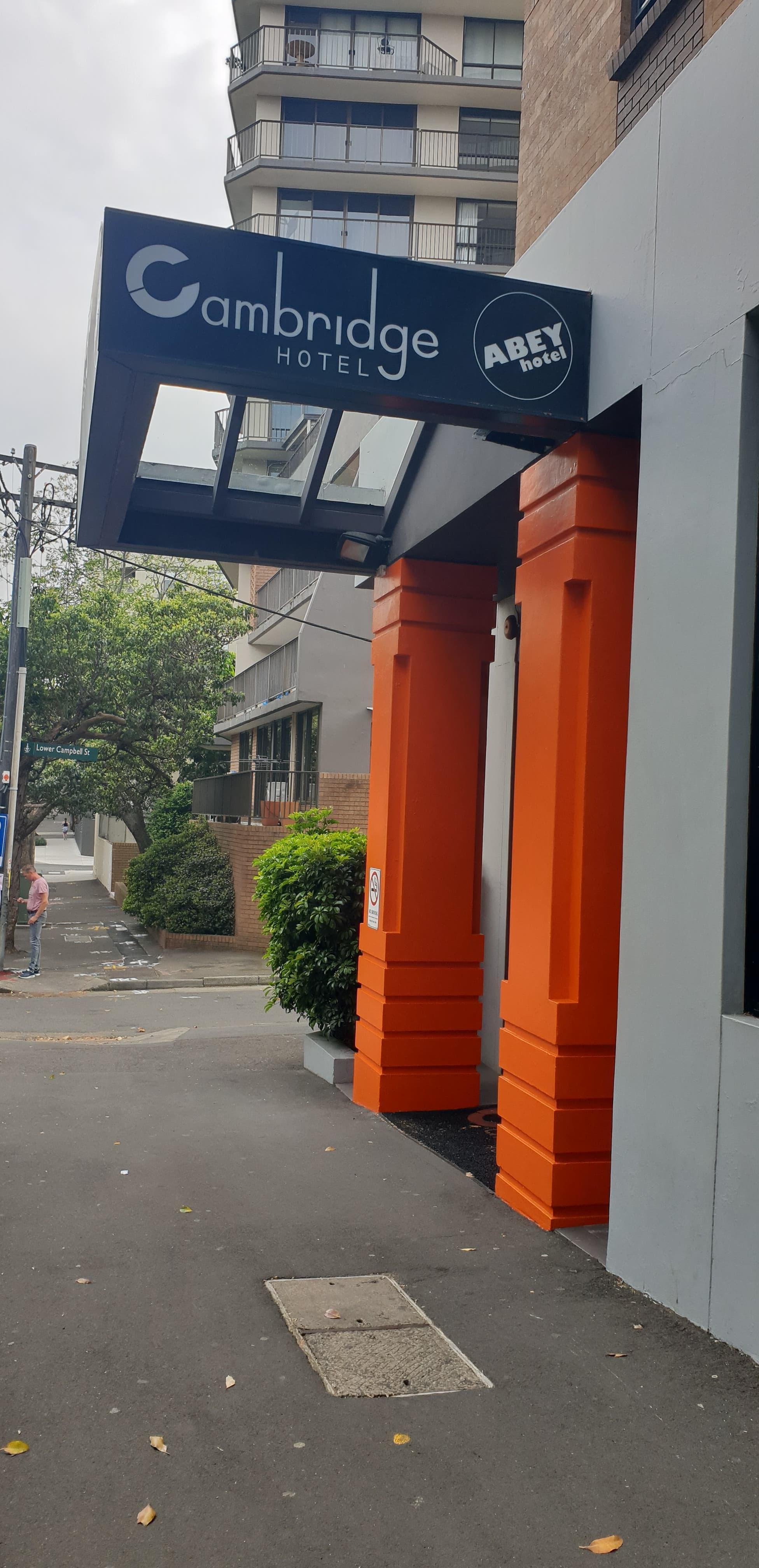 Bright orange door Cambridge Hotel