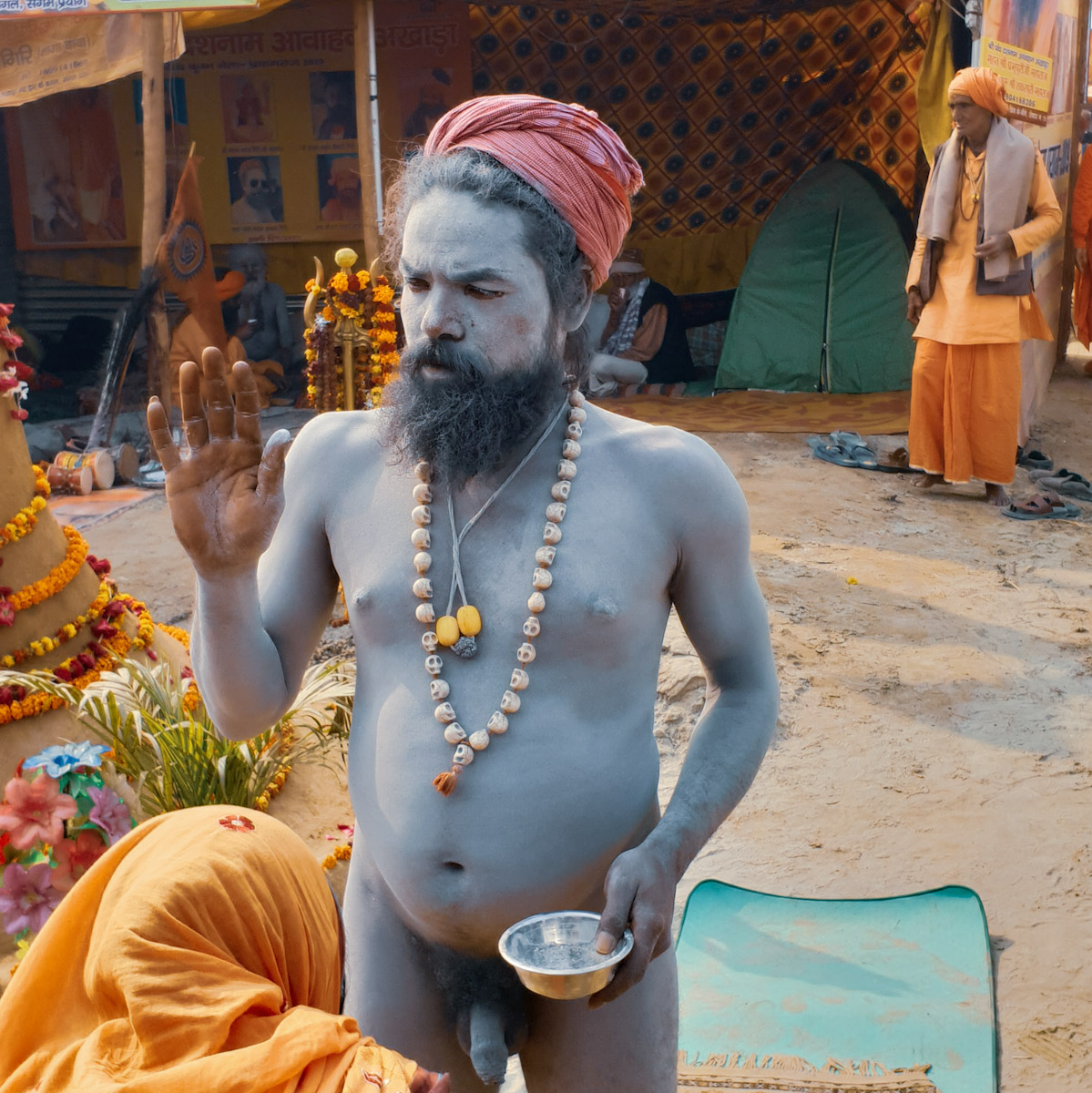 Naga Sadhu giving a blessing at the kumbh mela