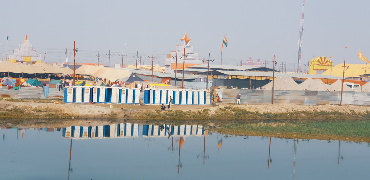 Some of the many toilets at the Kumbh MEla