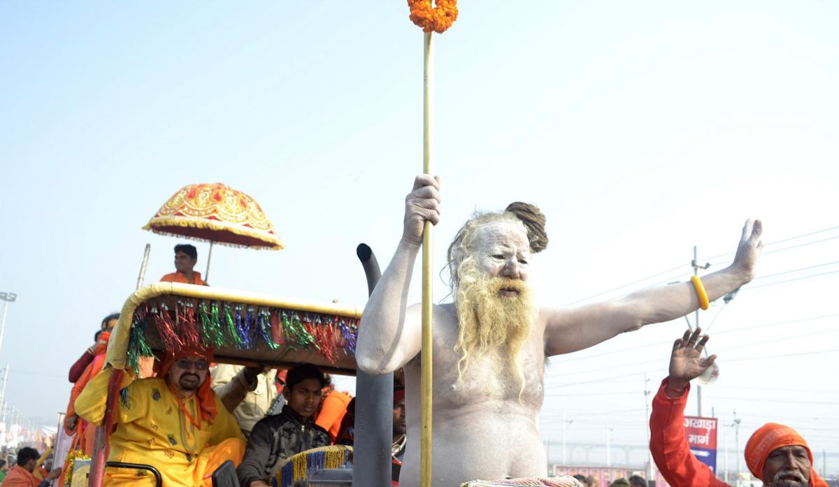 Waving naga sadhu at the Kumbh Mela