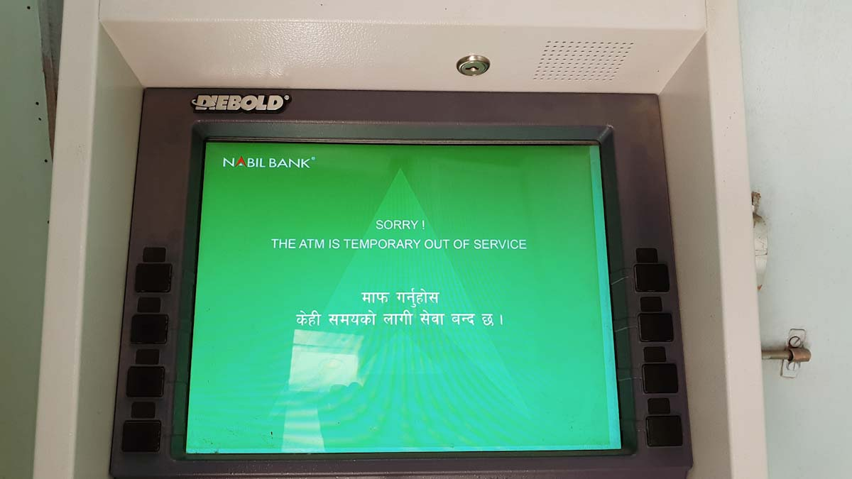Atm in Nepal Traveling Honeybird