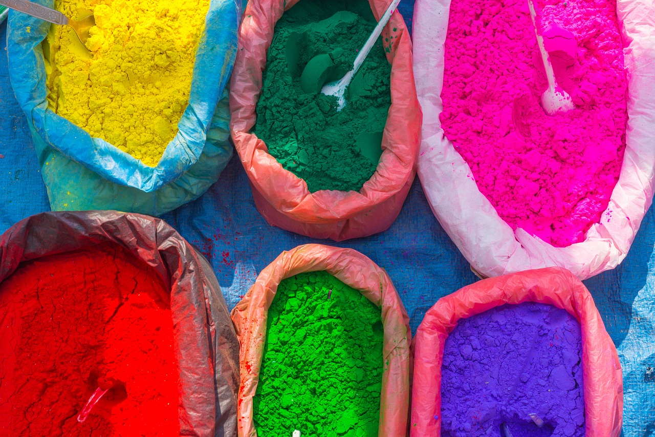 Holi festival coloured powered to buy in Nepal