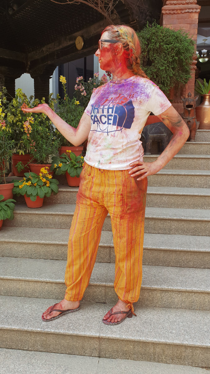 Jean after Holi colour festival kathmandu Traveling Honeybird
