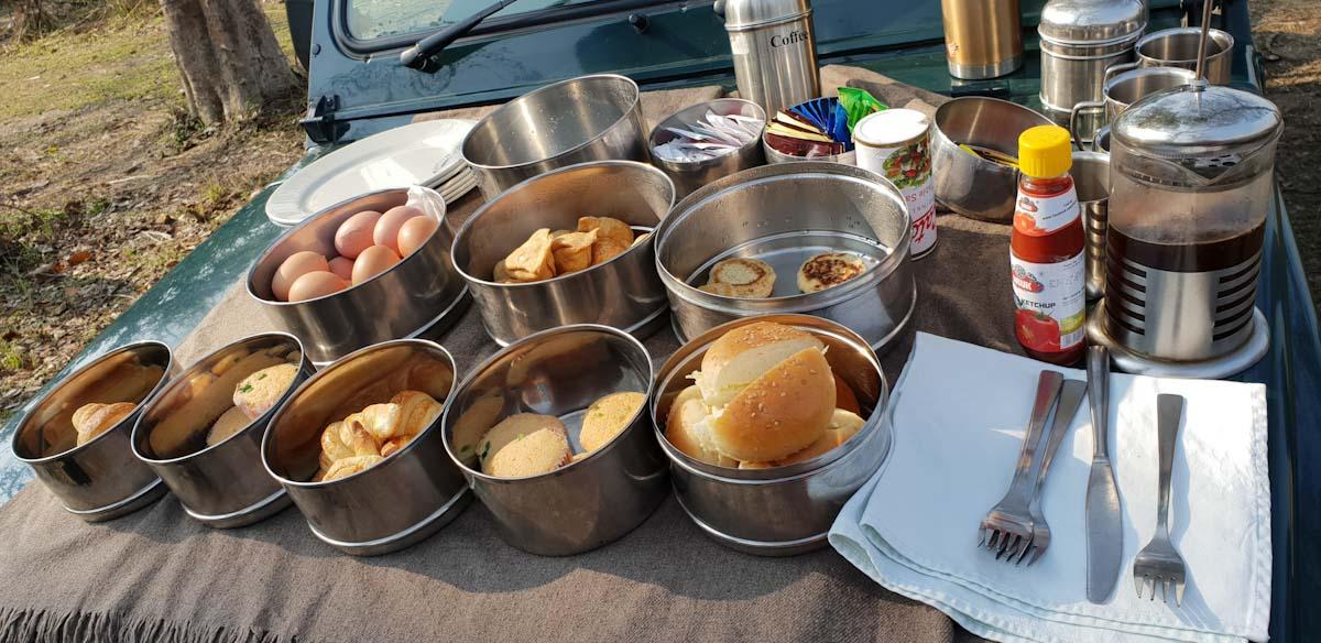 Breakfast on the Jeep Safari Chitwan