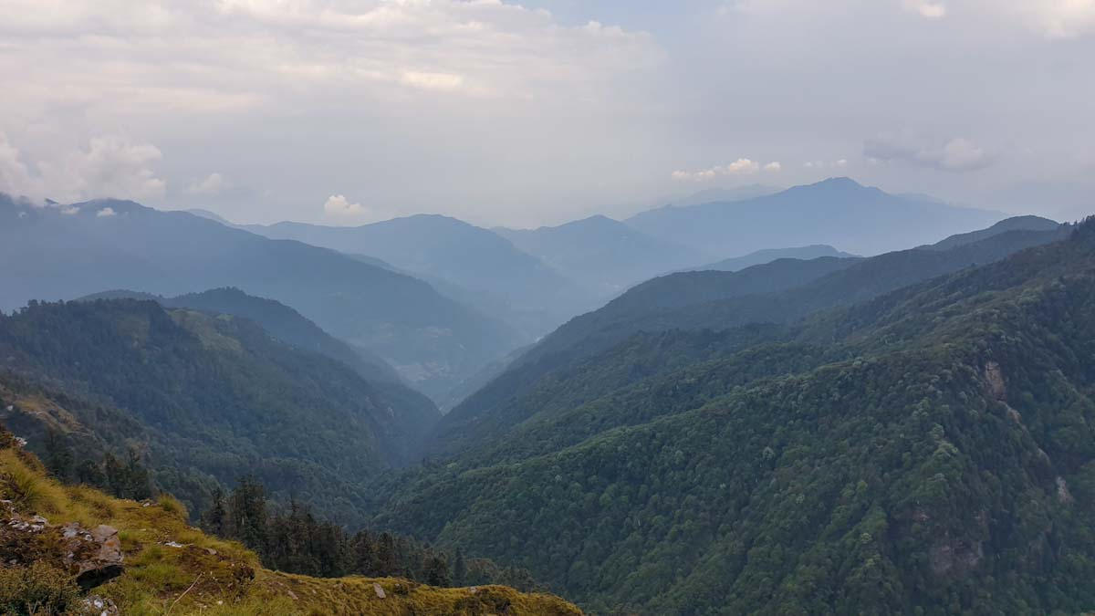 Amazingly green mountains in Nepal. Along the Mohare Danda community trek