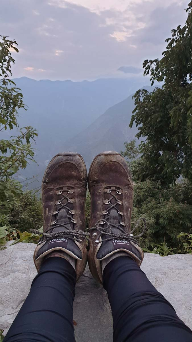 Hiking boots on a trek in Nepal