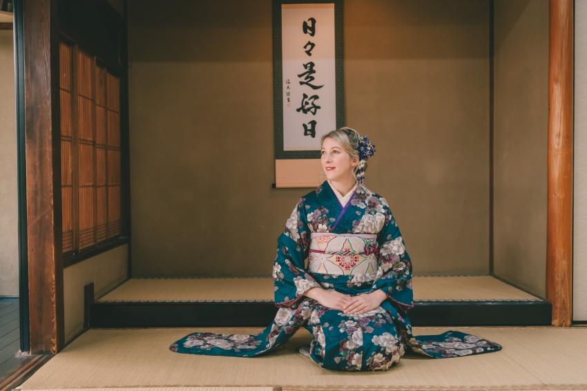 Jean in kimono