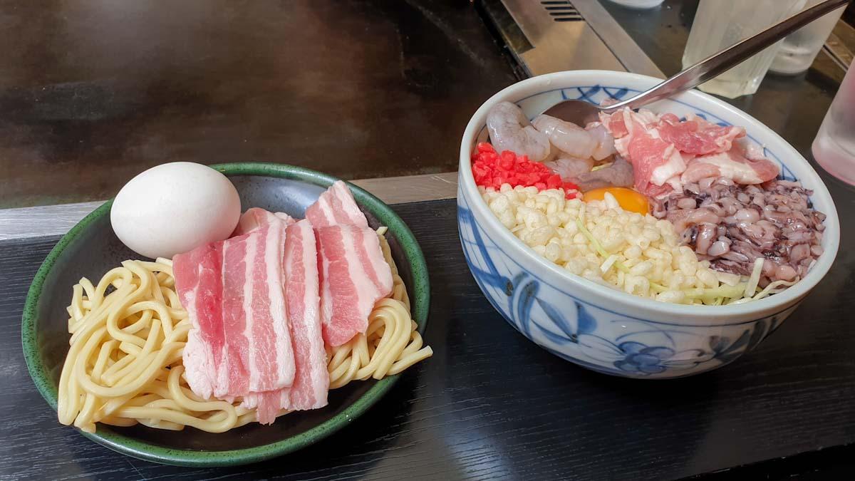 Making okonomiyaki in Harajuku