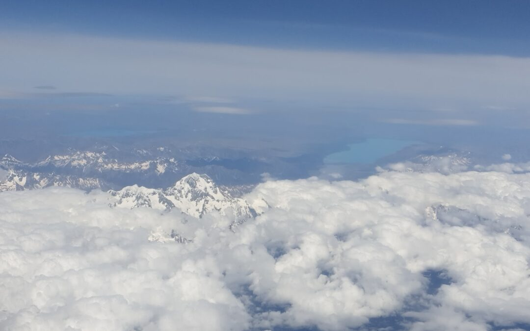 View of New Zealand mountains from a plane